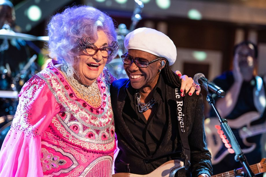 Dame Edna on her glam boat set with music legend Nile Rodgers