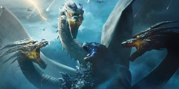 Godzilla: King of the Monsters Ghidorah wraps around Godzilla, and is about to attack