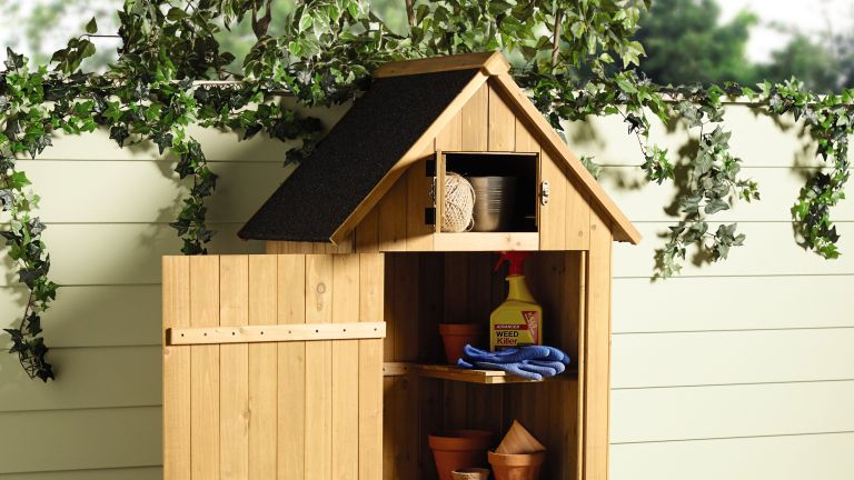 Aldi wooden garden tool shed