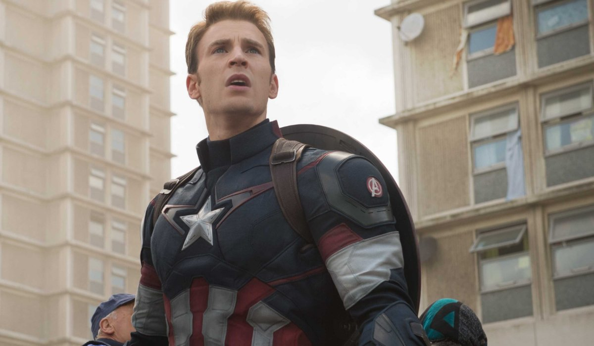 Avengers: Age of Ultron Chris Evans looking up on a mission