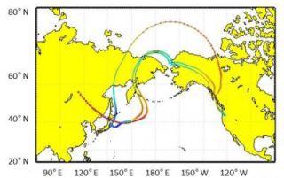 Trajectory of dust plumes crossing Pacific Ocean