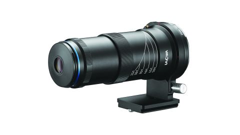 A black Laowa 25mm 2.5-5x lens