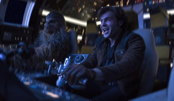 Solo: A Star Wars Story Han and Chewie piloting the Falcon excitedly