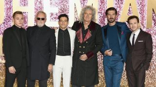 Ben Hardy, Roger Taylor, Rami Malek, Brian May, Gwilym Lee and Joe Mazzello attend the World Premiere of 'Bohemian Rhapsody' at SSE Arena Wembley on October 23, 2018 in London, England.