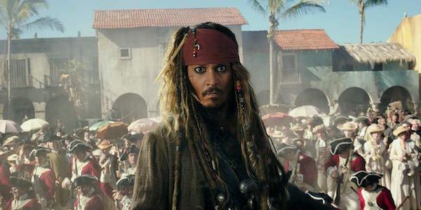Johnny Depp as Jack Sparrow in Pirates of the Caribbean: Dead Men Tell No Tales