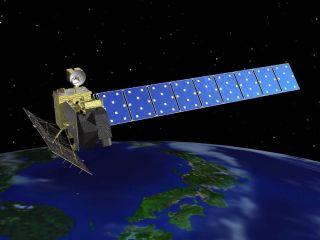 Artist's concept of Japan's Advanced Land Observing Satellite (ALOS), also known as Daichi.