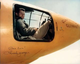 Test pilot Chuck Yeager in the cockpit of the Bell X-1, in which he became the first recorded pilot to break the sound barrier – although others had likely died trying.