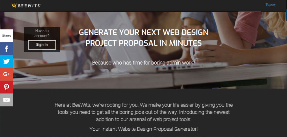 Homescreen for web design proposal tool