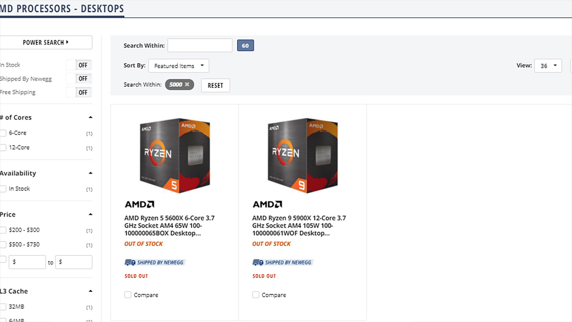Newegg Ryzen 5000 CPU listed as sold out