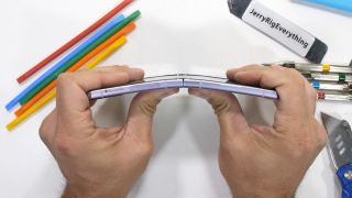 YouTube channel JerryRigEverything puts the Samsung Galaxy Z Flip 3 through a bend test.