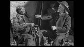 "Remastered footage shows William ""Buffalo Bill"" Cody in conversation with Oglala Lakota leader Siŋté Máza (""Chief Iron Tail"") in 1914."