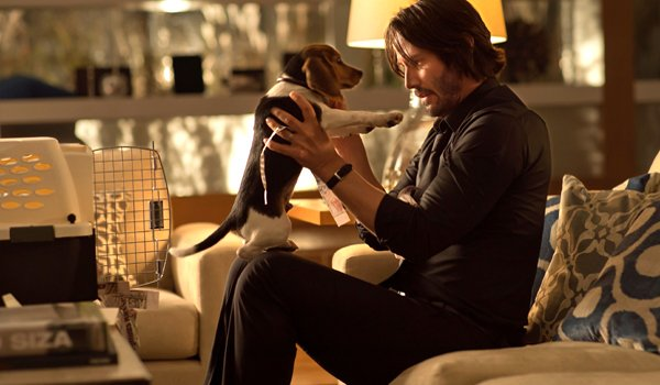 John Wick Keanu Reeves with puppy