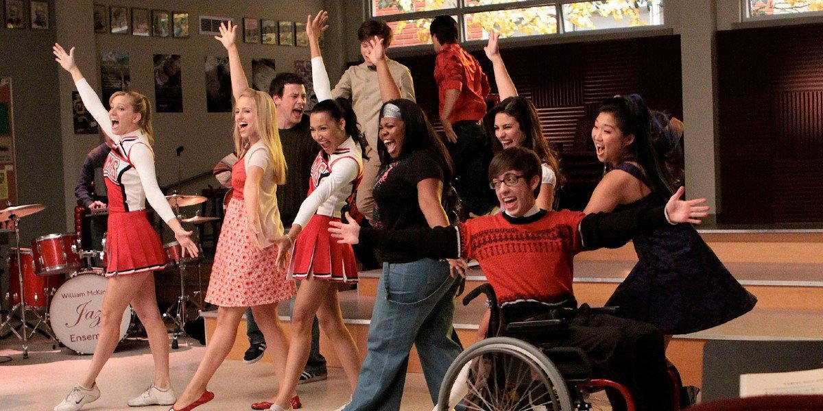 Naya Rivera, Amber Riley, Cory Monteith, Kevin McHale, Dianna Agron, Lea Michele, Heather Morris, and Jenna Ushkowitz in Glee  ,