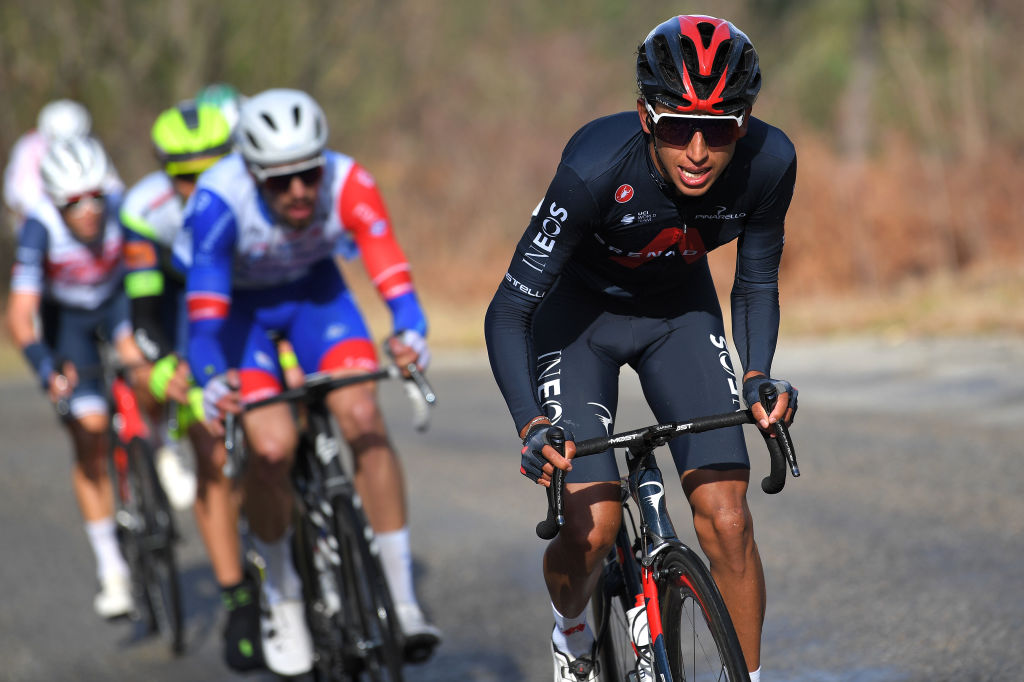 BESSGES FRANCE FEBRUARY 05 Egan Arley Bernal Gomez of Colombia and Team INEOS Grenadiers during the 51st toile de Bessges Tour du Gard 2021 Stage 3 a 1548km stage from Bessges to Bessges EDB2020 on February 05 2021 in Bessges France Photo by Luc ClaessenGetty Images