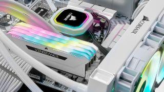Corsair RAM in a very white PC setting