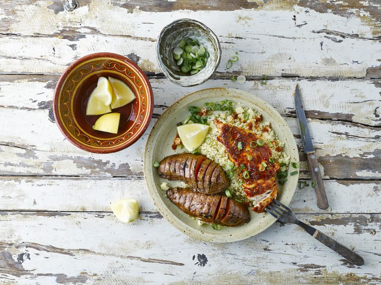 hasselback potatoes and harissa chicken