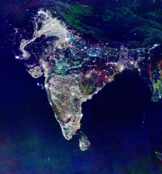 Satellite image of nighttime lights in India
