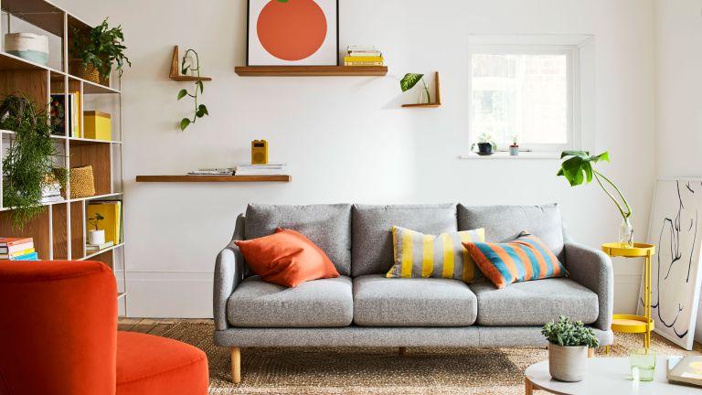 John Lewis ANYDAY range in living room – grey sofa, jute rug, shelving