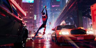 Miles Morales web swinging in Spider-Man: Into the Spider-Verse