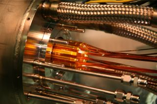 This antimatter trap at the ALPHA experiment at CERN mixes positrons and antiprotons to make antihydrogen.