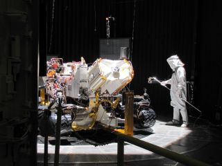 Testing of the Mars Science Laboratory rover, Curiosity. Evaluations during March included use of a space-simulation chamber designed to put the rover through operational sequences in environmental conditions similar to what it will experience on the surf