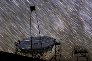 Star Trails Over MAGIC I Telescope by Miguel Claro
