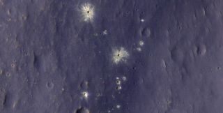 This zoomed-in image shows the impact site.
