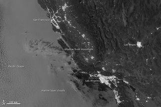 Marine layer clouds at night