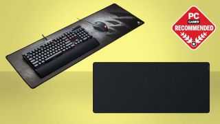Best mouse pad for gaming header image with two mouse pads on a yellow background with recommended badge