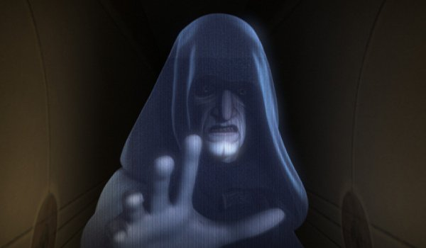 Star Wars Rebels Palpatine's threatening hologram