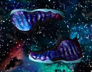 Space exploration inspired the design of Nike's new sportswear pack. Here, the Foamposite One with 'supernova' styling.