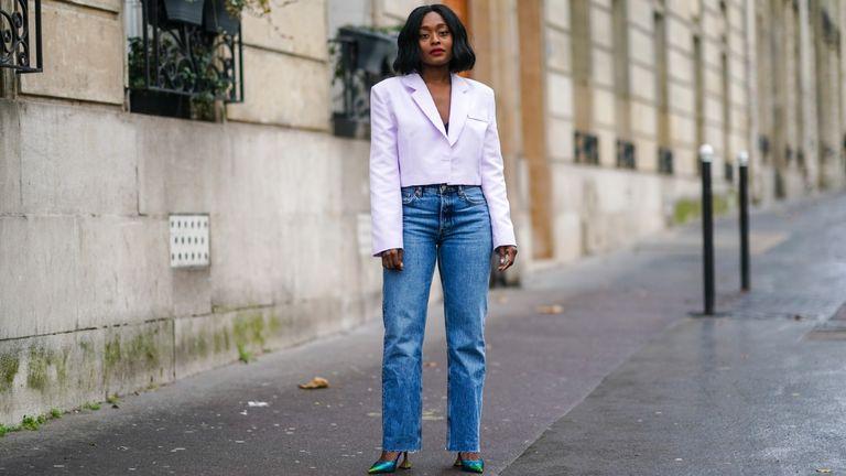 street style model wearing jeans