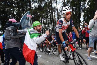 Italian fans cheer on Vincenzo Nibali on Alpe Motta on stage 20 of the Giro d'Italia
