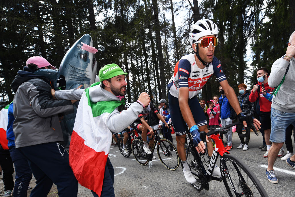 VALLE SPLUGA ALPE MOTTA ITALY MAY 29 Vincenzo Nibali of Italy and Team Trek Segafredo passing through Valle Spluga Alpe Motta 1727m mountain during the 104th Giro dItalia 2021 Stage 20 a 164km stage from Verbania to Valle Spluga Alpe Motta 1727m Fans Public UCIworldtour girodiitalia Giro on May 29 2021 in Valle Spluga Alpe Motta Italy Photo by Tim de WaeleGetty Images