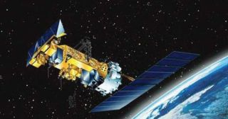 An artist's depiction of the NOAA-17 satellite in orbit.
