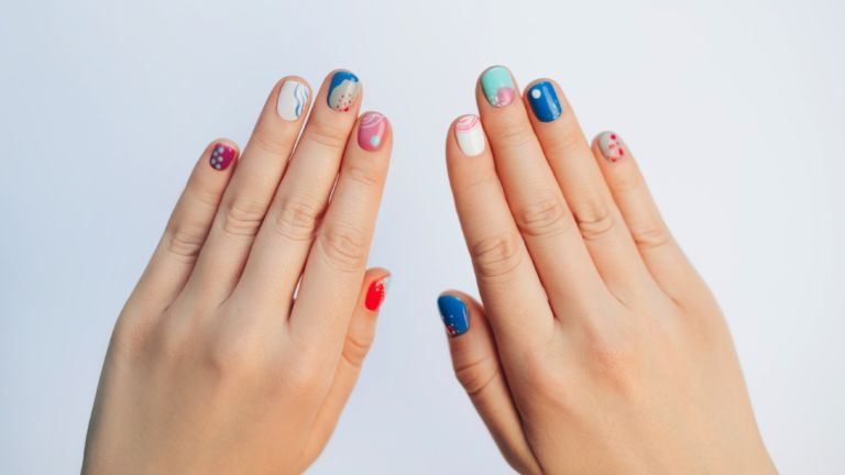 Playful abstract manicure - stock photo