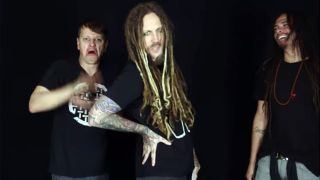 A still from the video in which Korn scream pop songs in a heavy metal style
