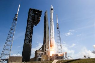 A United Launch Alliance Atlas V rocket launches from a pad at Cape Canaveral Air Force Station, Florida to send the Orbital ATK Cygnus spacecraft S.S. John Glenn on a NASA cargo delivery mission to the International Space Station on April 18, 2017.