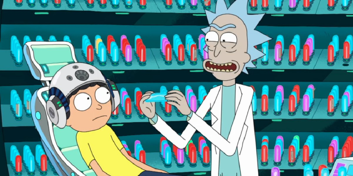 """Rick and Morty in the episode """"Morty's Mind Blowers."""""""