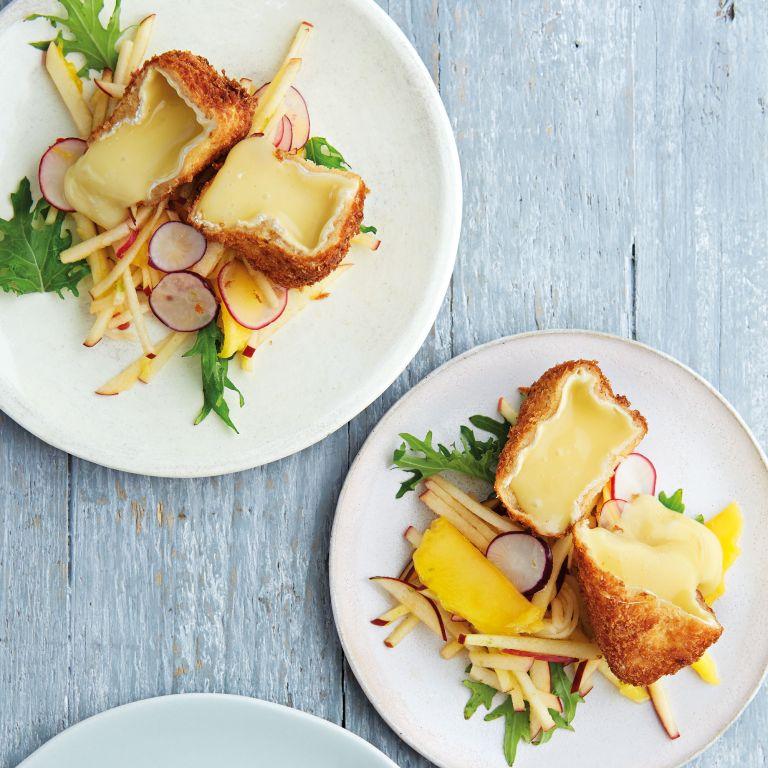 Crumbed camembert, apple, mango, salad leaves and radish