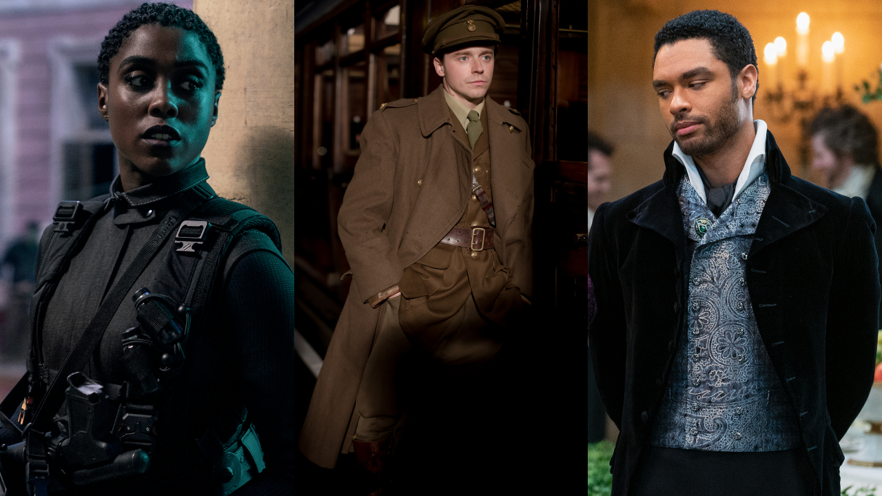 Lashana Lynch en No Time To Die, Jack Lowden en Benediction y Regé-Jean Page en Bridgerton, fotografiados uno al lado del otro.