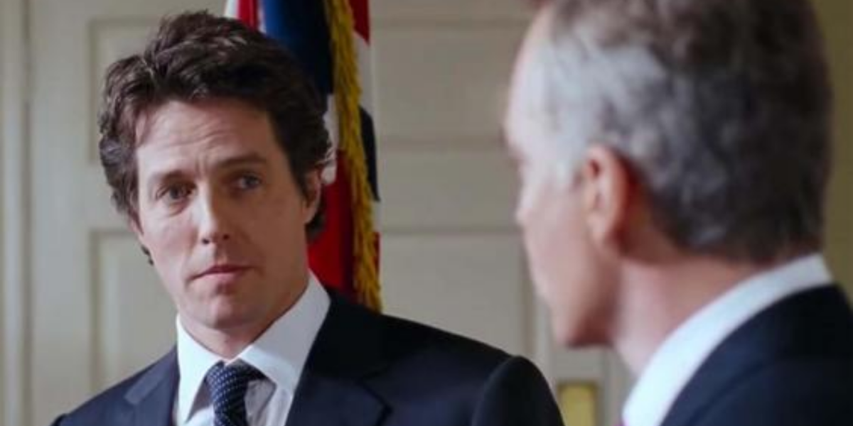 David (Hugh Grant) faces off with the United States President (Billy Bob Thornton) in 'Love, Actually'