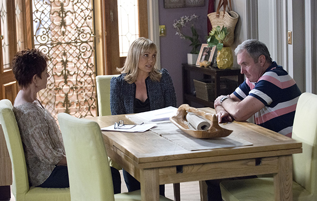 Erinsborough's Hospital board member Rita Newland puts Karl Kennedy in an awkward situation when she reveals her plans to topple Clive Gibbons in Neighbours.