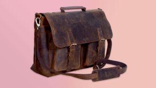 KomalC Bolso bandolera retro de 15 pulgadas Buffalo Hunter Leather para laptop