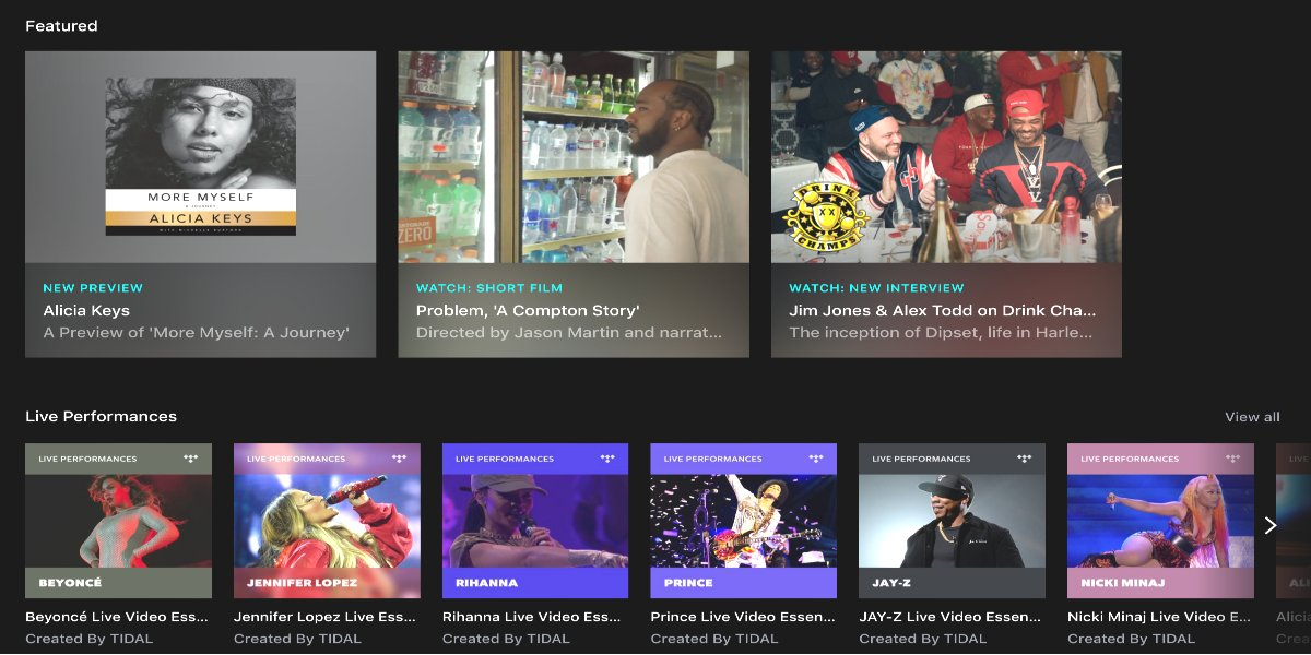 Tidal's live performance and exclusive video section