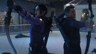 Clint Barton and Kate Bishop teaming up in Marvel's Hawkeye TV show
