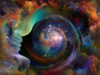 abstract image of a person in space