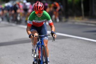 COLICO ITALY JULY 07 Elisa Longo Borghini of Italy and Team Trek Segafredo in breakaway during the 32nd Giro dItalia Internazionale Femminile 2021 Stage 6 a 155km stage from Colico to Colico GiroDonne UCIWWT on July 07 2021 in Colico Italy Photo by Luc ClaessenGetty Images