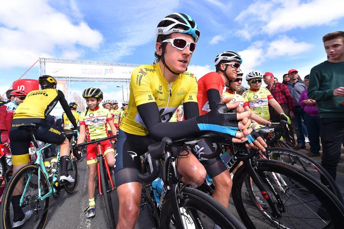 Geraint Thomas in yellow before the start of stage 4 at Volta ao Algarve
