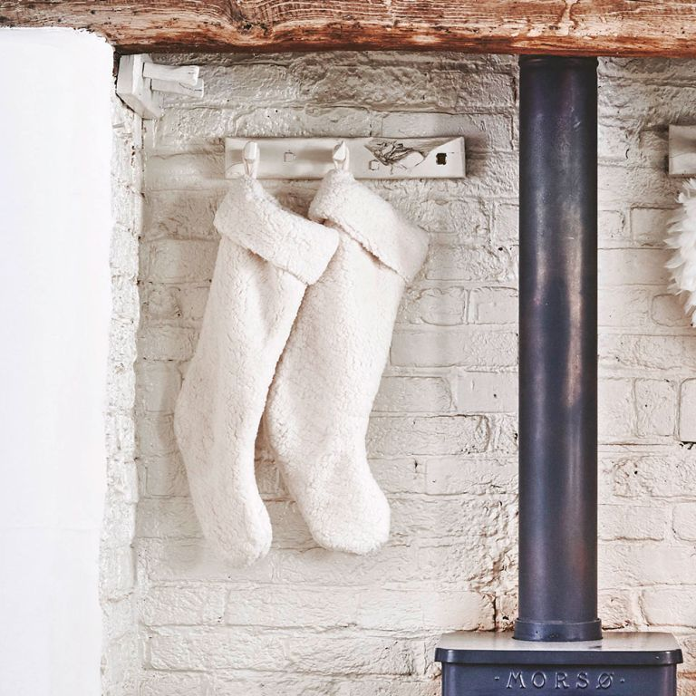 Dunelm white teddy bear Christmas stocking